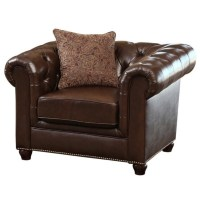 Abbyson Living Alexandra Leather Arm Chair in Brown - SK ...