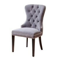 Abbyson Wilton Tufted Velvet Dining Chair in Gray