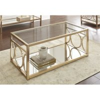Steve Silver Olympia Glass Top Coffee Table in Gold Chrome ...