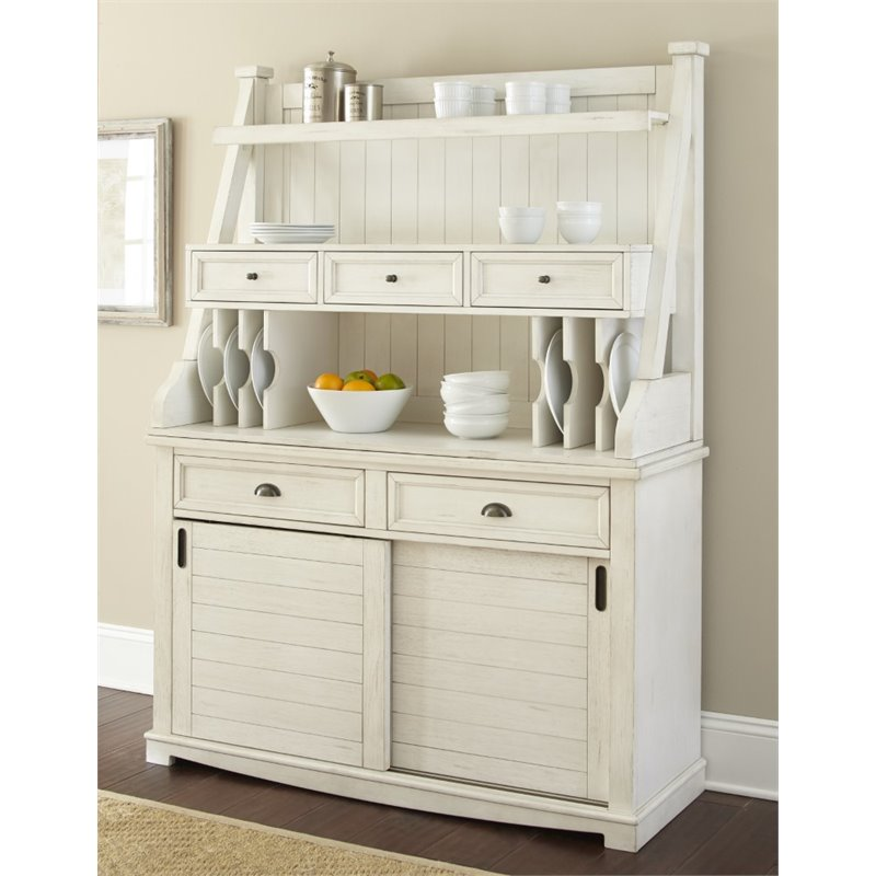 Steve Silver Cayla Buffet With Hutch In Antique White