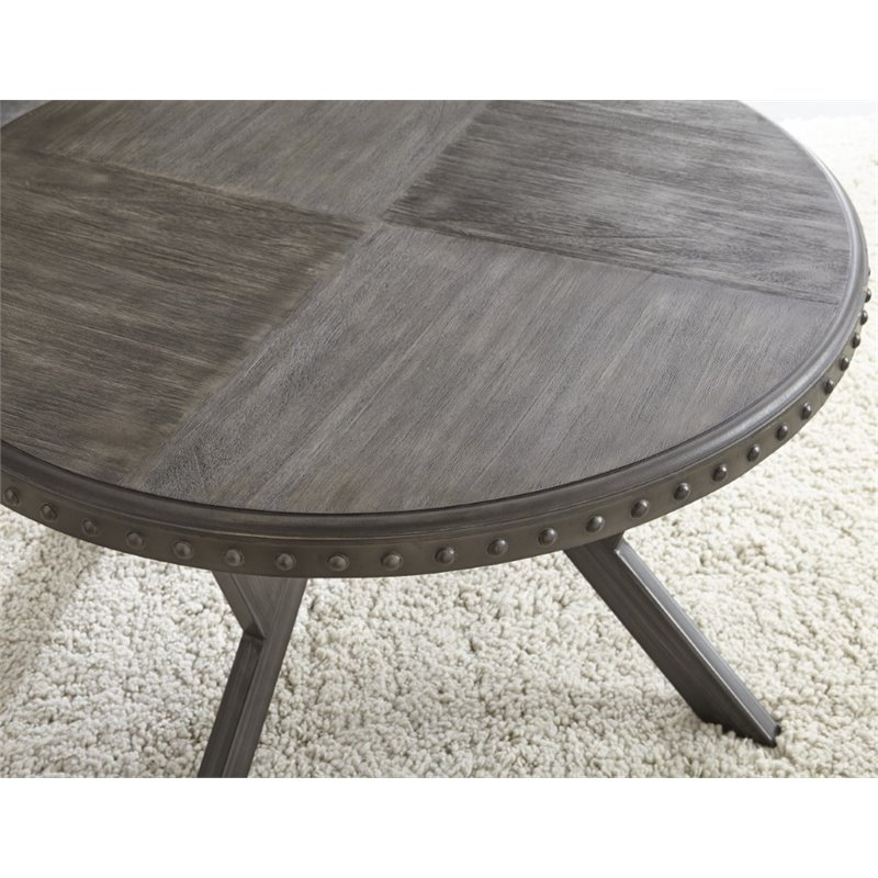 alamo round coffee table in weathered gray