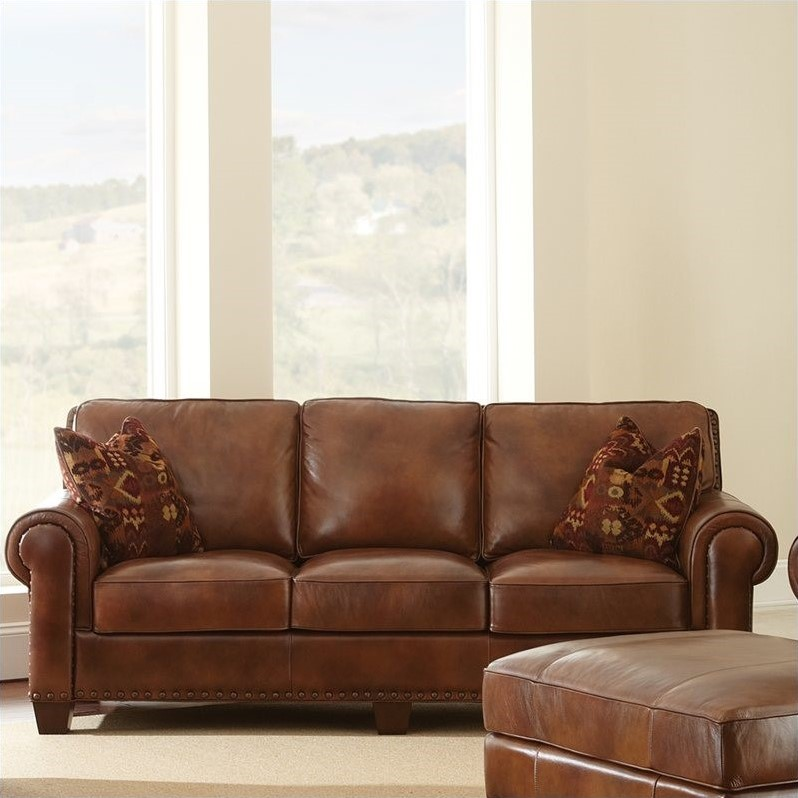 Steve Silver Company Silverado Leather Sofa in Caramel