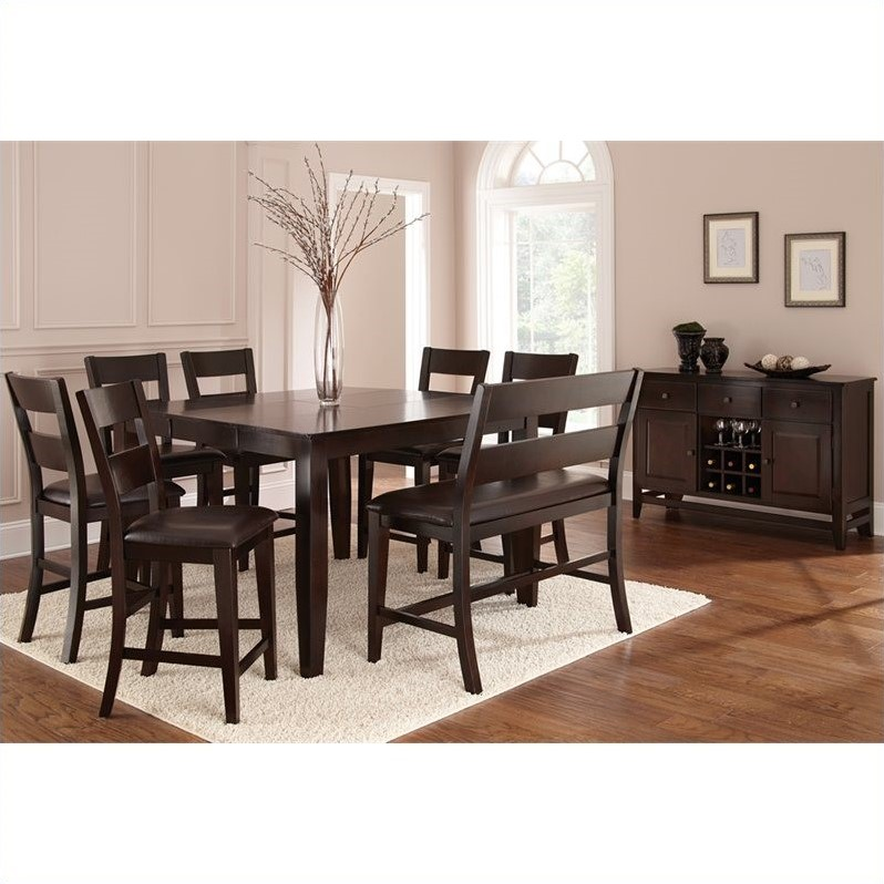 steve silver dining chairs room table sets 6 company victoria 8 piece counter height set in mango vc900pt 8pc pkg