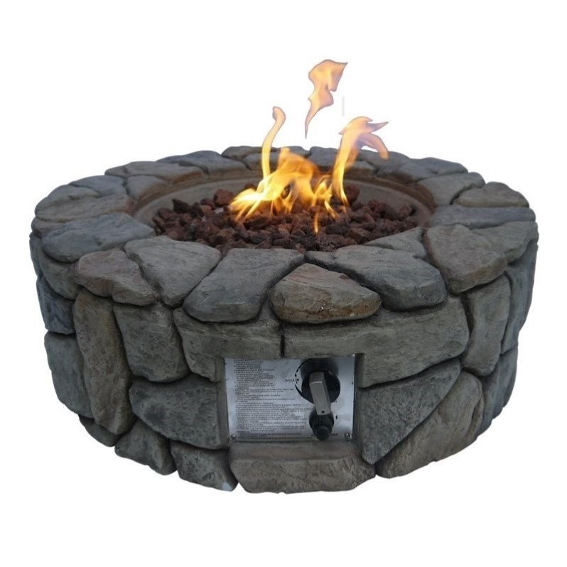 Peaktop Stone Gas Fire Pit with Cover