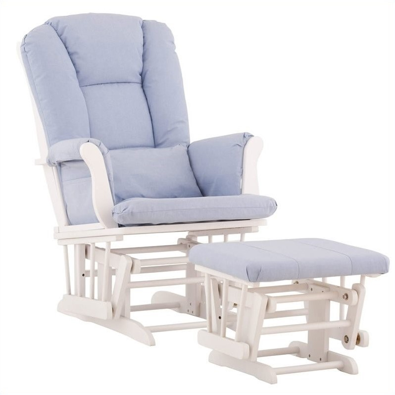blue glider chair heated massage and ottoman in white with cushions - 06554-531