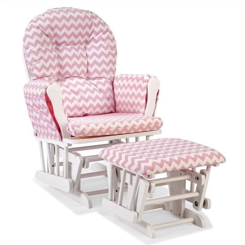 Custom Glider And Ottoman In White And Pink 06550 6121