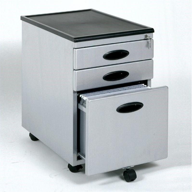 Studio RTA 3 Drawer Metal Mobile Filing Cabinet in Silver