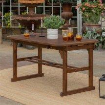 Acacia Wood Patio Dining Table In Dark Brown - Owtexdb