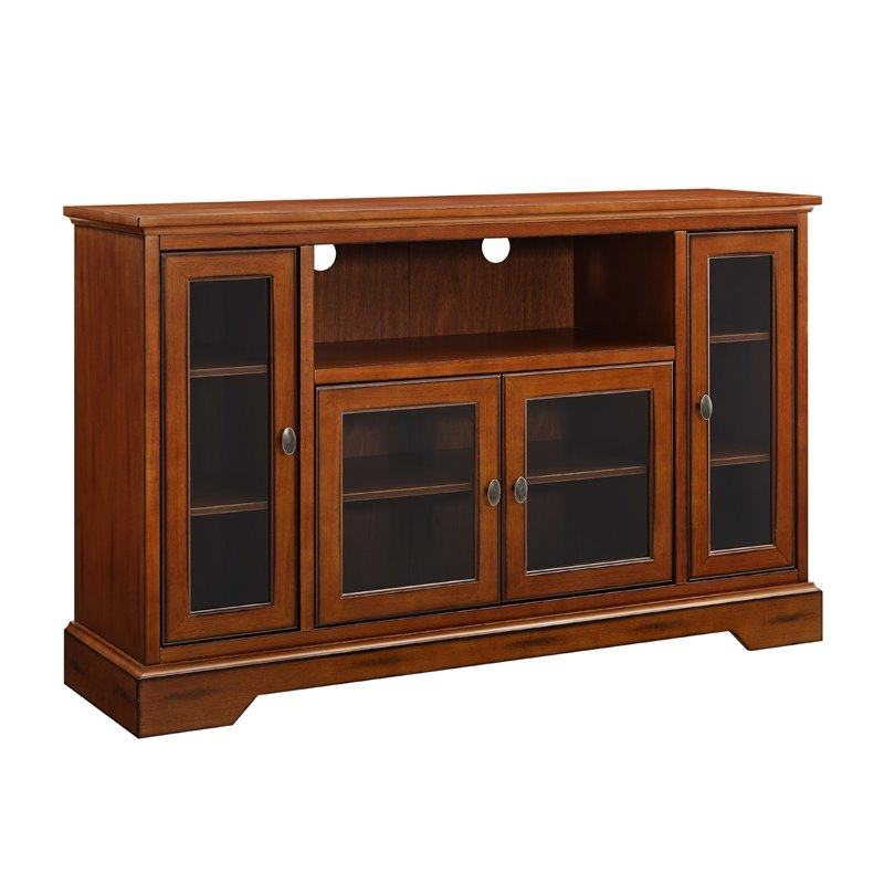 52 Highboy Style Wood TV Stand in Rustic Brown  W52C32RB
