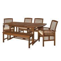 6 Piece Acacia Patio Dining Set In Dark Brown - Ow6sdb