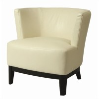 Pastel Furniture Evanville Leather Slipper Chair in White ...