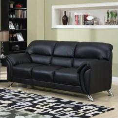 Brown Leather Sofa On Legs Castlecreek Log Table Global Furniture Usa 9103 Pvc Faux In Black Chrome U9103 Bl S M