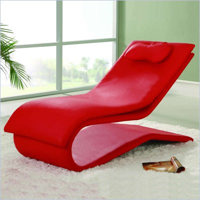 Global Furniture USA Red Vinyl Chaise Lounge
