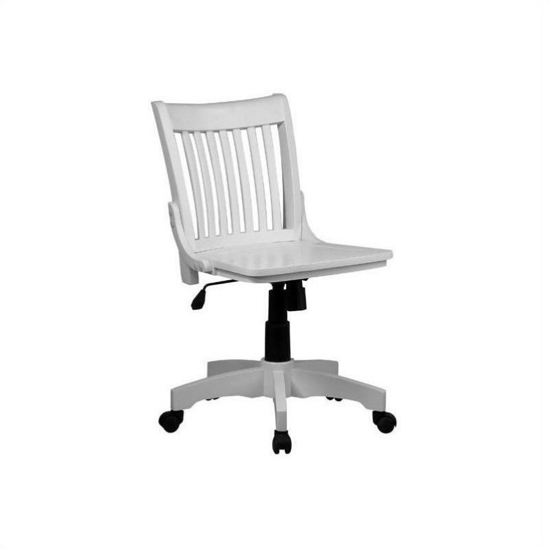 armless chair office cover rental penang wood bankers with seat in white 101wht