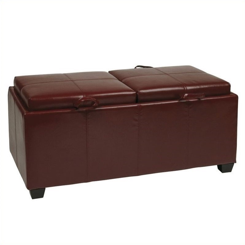 Metro Storage Bench Ottoman with Trays in Red Faux Leather