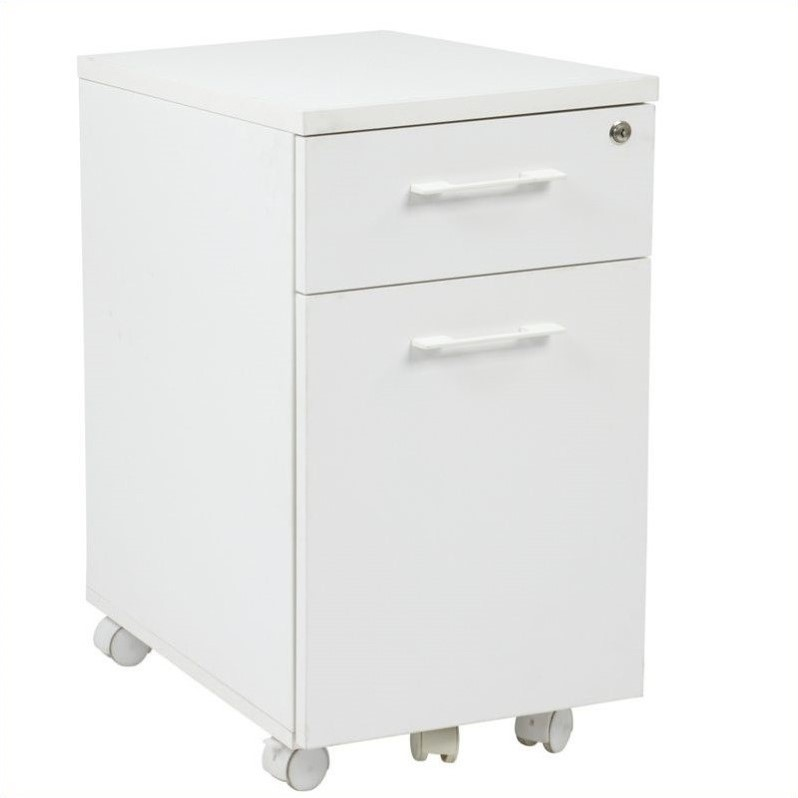 Mobile Filing Cabinet with Hidden Drawer in White  PRD3085WH