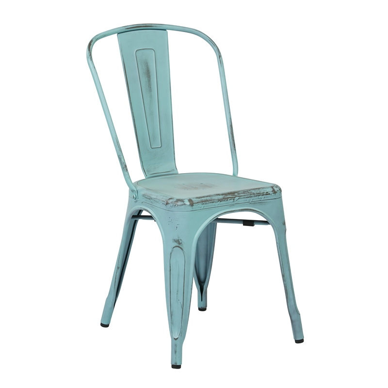 Metal Dining Chair in Antique Sky Blue Set of 2