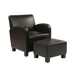 Black Leather Club Chair And Ottoman Mainstays Outdoor Rocking Faux With In Espresso Met807