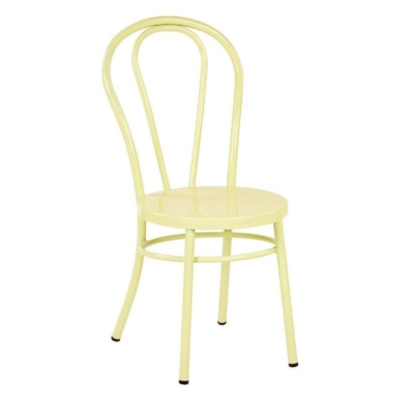 odessa metal patio dining chair in pastel lemon yellow set of 2