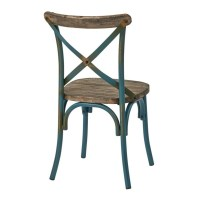 Metal Dining Chair with Wood Seat in Turquoise - SMR424WAS-ATQ