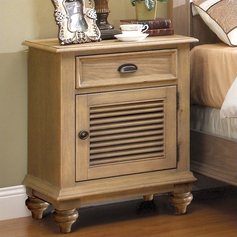 Riverside Furniture Coventry Shutter Door Nightstand in Driftwood  32469