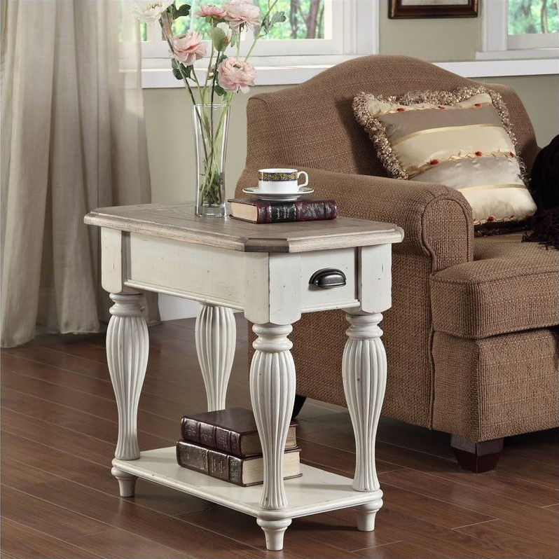 living room end tables moroccan style decor riverside furniture coventry two tone chairside table in dover white