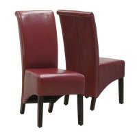 Faux Leather Dining Chair in Burgundy (Set of 2) - I1778BY