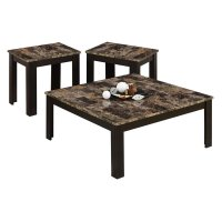 3 Piece Faux Marble Top Coffee Table Set in Cappuccino - I ...
