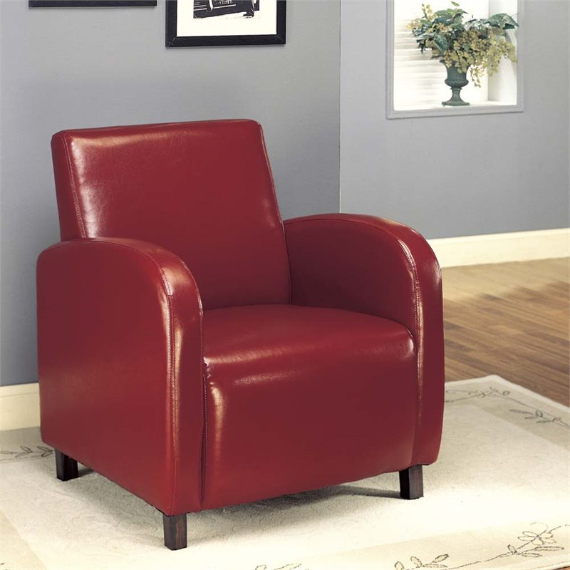 Faux Leather Accent Chair in Burgundy  I 8051