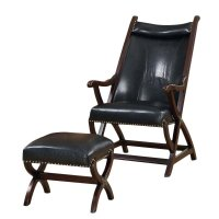 Faux Leather Accent Chair and Ottoman in Dark Brown - I 8092