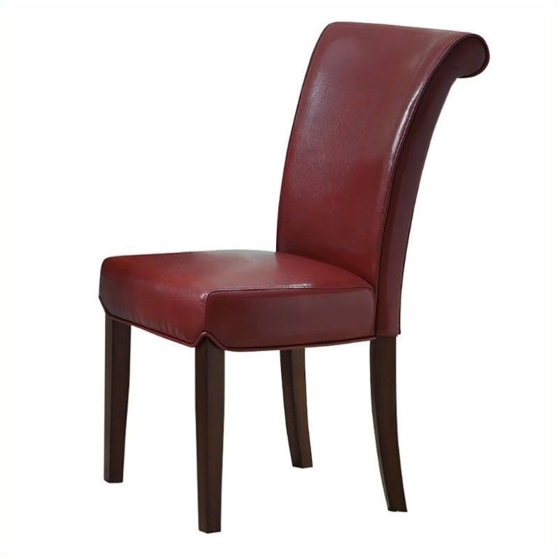 Monarch Faux Leather Dining Chair Chairs in Burgundy Set