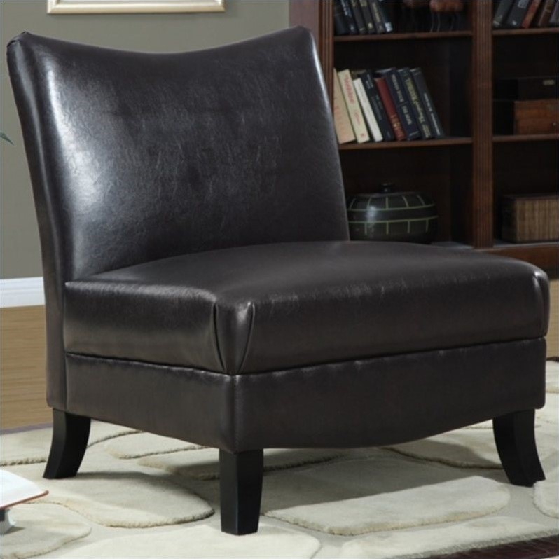 brown slipper chair elderly recliner lift chairs faux leather accent in i 8046
