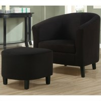 Padded Micro-Fiber Accent Barrel Chair And Ottoman in ...