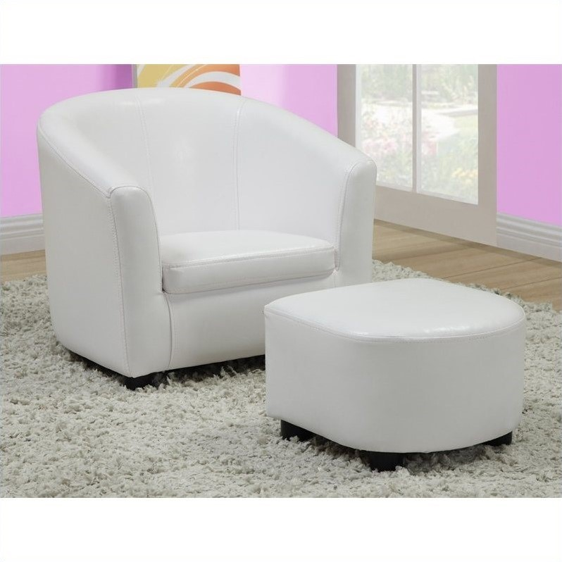 kids chair with ottoman bistro cushion and set in white faux leather i 8104