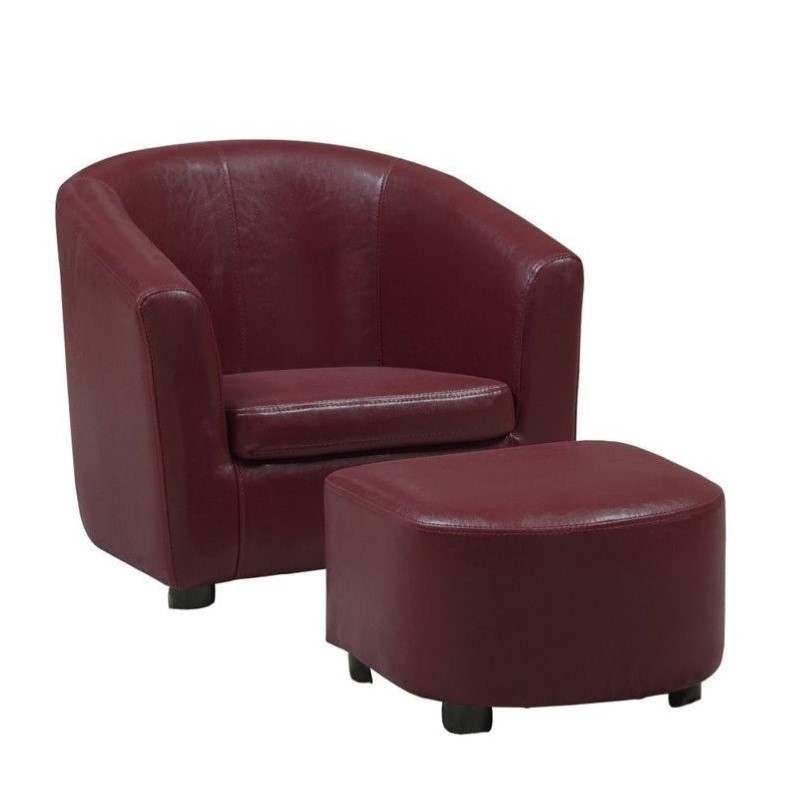 kids chair with ottoman bath for babies and set in red faux leather i 8105