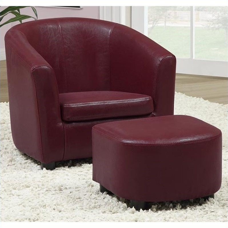 kids chair and ottoman shower with arms wheels set in red faux leather i 8105