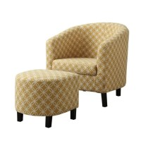 Upholstered Accent Club Arm Chair and Ottoman in Yellow ...
