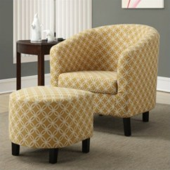 Yellow Upholstered Accent Chair Desk Back Support Cushion Club Arm And Ottoman In I 8059