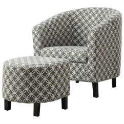 Accent Chairs With Ottomans Sciatica Cushion For Office Chair Curved Back Barrel And Ottoman In Gray White I 8060