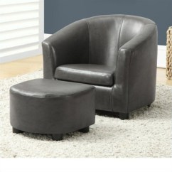 Kids Chair With Ottoman Curved Corner And Set In Charcoal Gray Faux Leather I 8109