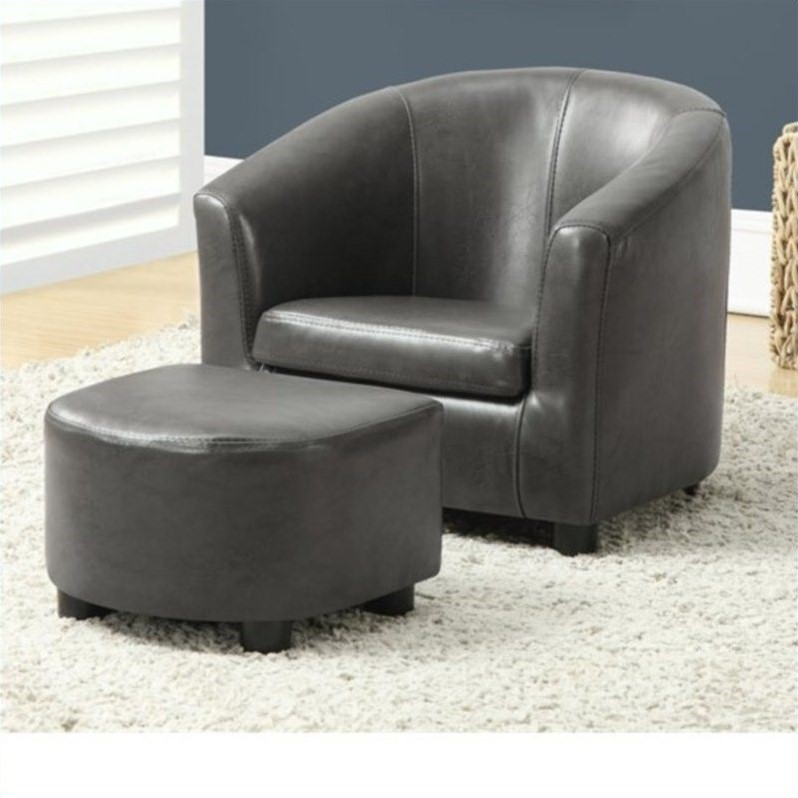 kids chair and ottoman xxl wheelchair set in charcoal gray faux leather i 8109