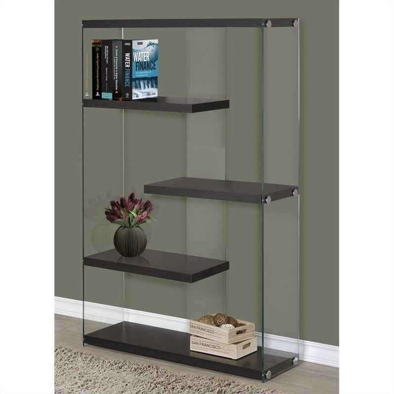Bookcase In Cappuccino With Floating Shelves I 3284