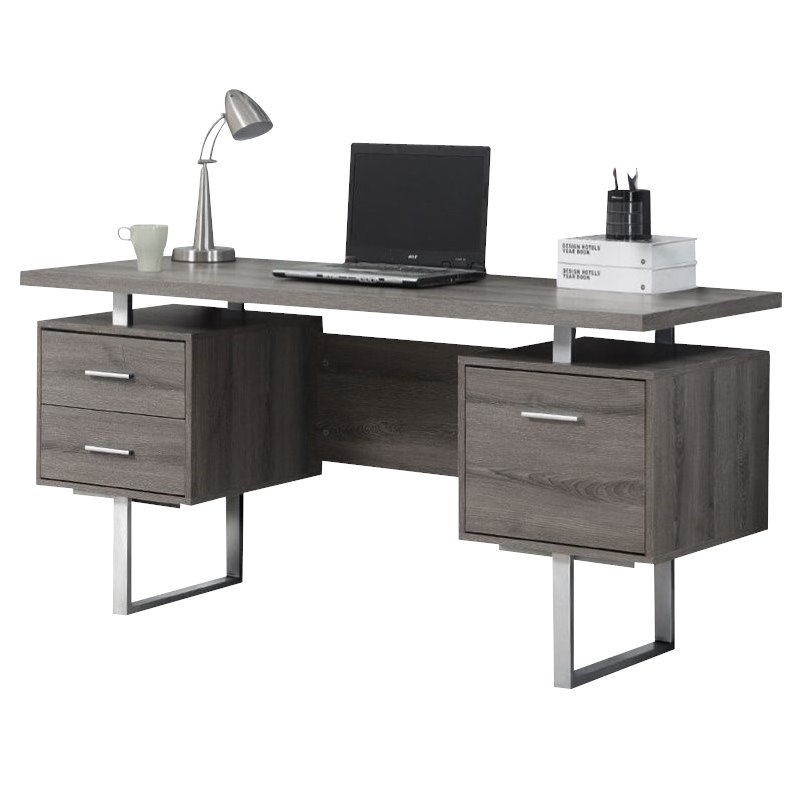 60 Hollow Core Computer Desk in Dark Taupe  I 7082