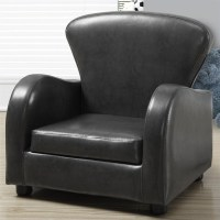 Kids Club Chair in Charcoal Gray Faux Leather - I 8141