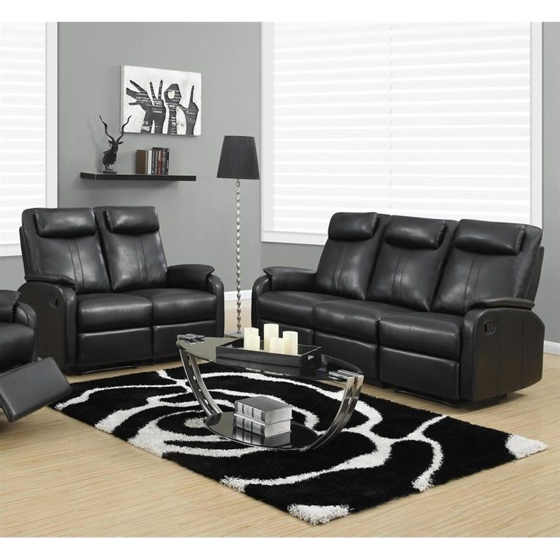 Monarch 2 Piece Reclining Rocker Leather Sofa Set in Black 688168822704  eBay