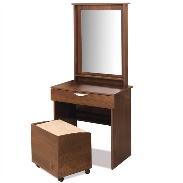 Nexera Nocce Truffle Wood Makeup Vanity Table Set Withmirror