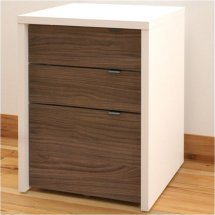 3 Drawer Filing Cabinet In White And Walnut - 211203