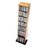 """51"""" Slim Multimedia CD DVD Storage Tower in Oak and Black ..."""