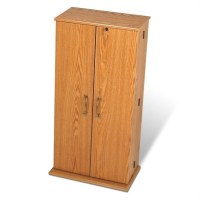 Prepac Tall Locking CD DVD Media Storage Cabinet Oak