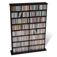 "51"" Double CD DVD Wall Media Storage Rack in Black - BMA-0640"